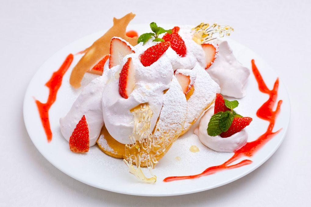 苺づくしのパンケーキ